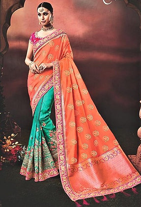 Green and Pink Silk Georgette     Sari