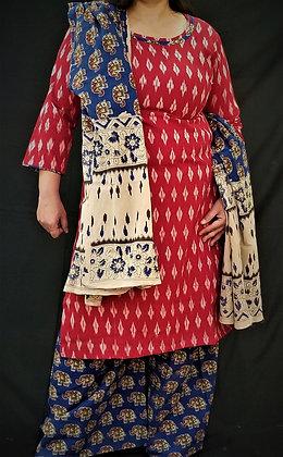 Red and Blue Soft cotton Salwar Kameez