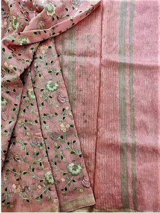 Beautiful handloom cotton linen saree