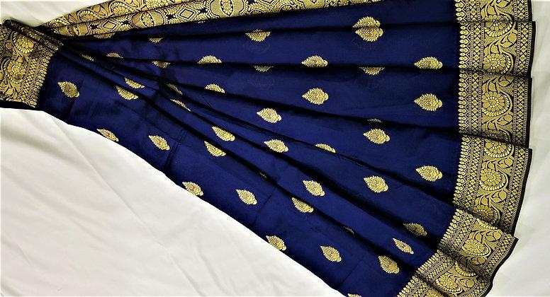 Navy Blue Art Satin Sari