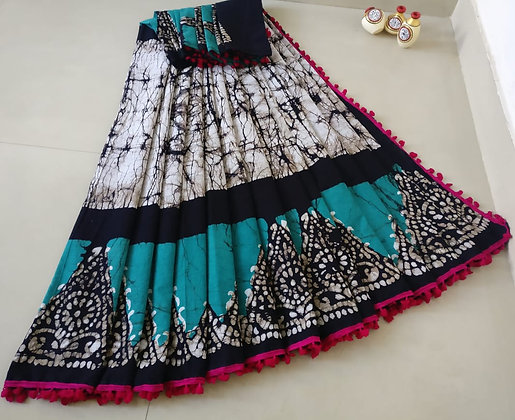 White, Teal and Black cotton Mulmul Sari