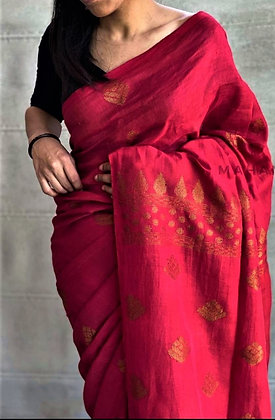 Red handloom cotton linen saree