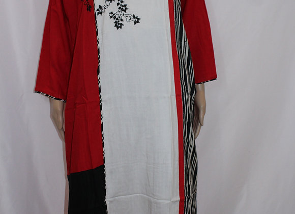 Comfortable Red-White & Black Printed Kurti ( 2XL )