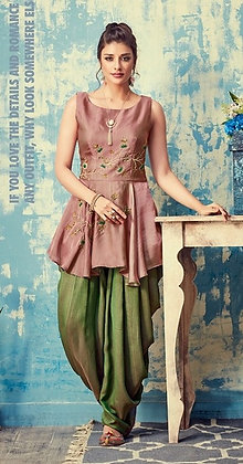 Modern Patiala Silk Hand Embroidered Suit (M)
