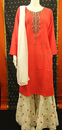 Red and Cream Sharara Suit