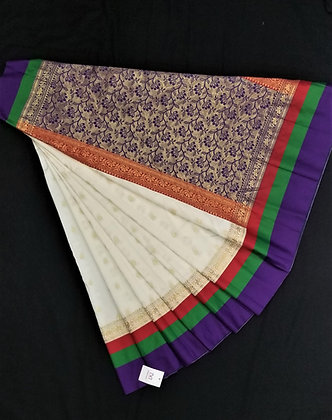 Offwhite and Purple beautiful soft silk saree
