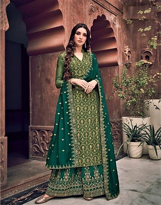 Elegant Green embroidered Pallazo Suit(S)
