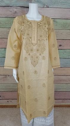 Cream Embroidered Cotton Kurti