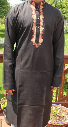 Black Soft Cotton Kurta ( L 42'' )