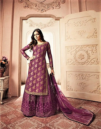 Berry Embroidered Sharrara Suit