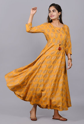 Gorgeous Yellow Printed Long Kurti w/ Print