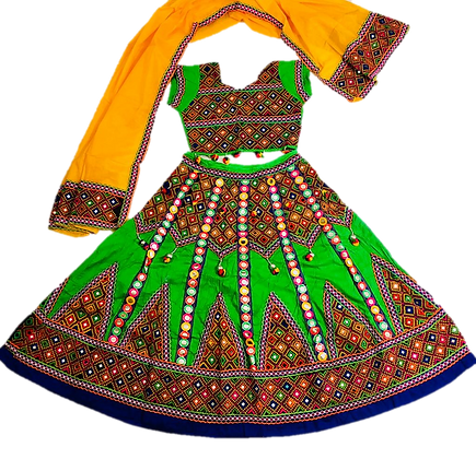 Green Navratri Garbha Lehnga