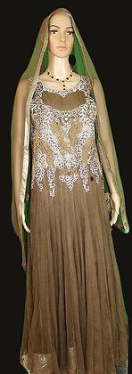 Brown \w Silver Combination Anarkali Long Gown Suit (M/L)
