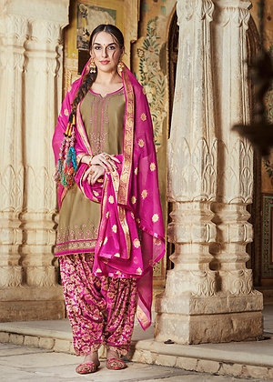Fawn embroidered shirt and pink printed salwar