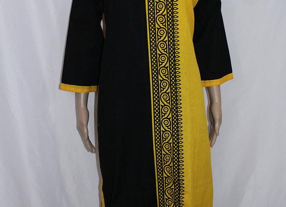 Black & Yellow Ladies Cotton Kurti / Tunic ( L  )