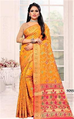Orange Art Silk Sari