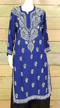 Royal Blue Cotton Kurti w/ Embroidery