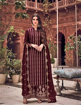 Brown embroidered Pallazo Suit(S)