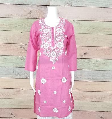 Light Pink Embroidered Cotton Kurti