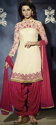 CREAM & PINK EMBROIDERED PATIALA