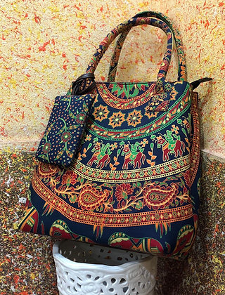 Ethnic Indian Print Fabric Tote Shoulder Bag w/Money pouch