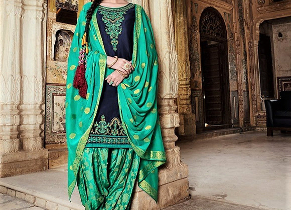 Blue Kameez w/embroidery and printed salwar Suit