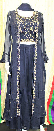 Blue Crop-Top Sharara Suit