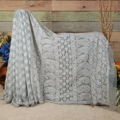Gray Georgette saree w/White Embroidery