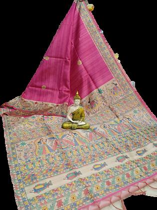 Pink Madhubani Sari