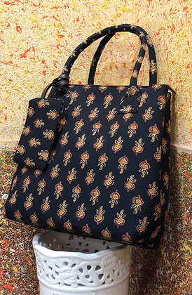 Indian Printed Fabric Tote Shoulder Bag w/Money pouch