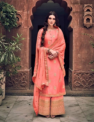Peach embroidered Pallazo Suit(S)