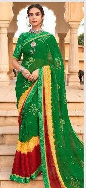 Green and Red Georgette Sari