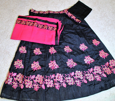 Black and Black Gujarati Lacha Chaniya Choli For Garba (M /L )