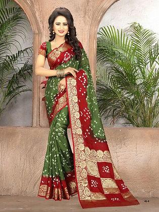 Green and Maroon crepe silk sari