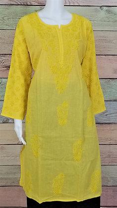 Yellow Cotton Kurti w/ Embroidery
