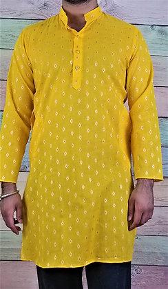 Yellow Readymade Cotton Kurta