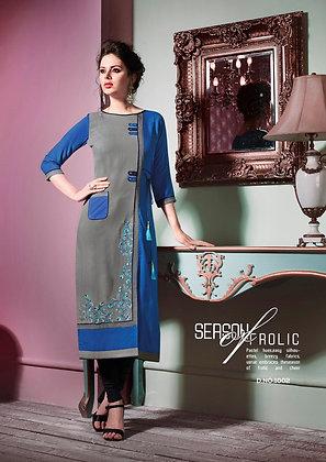 Teal, Blue and Gray Elegant Rayon Cotton Kurti
