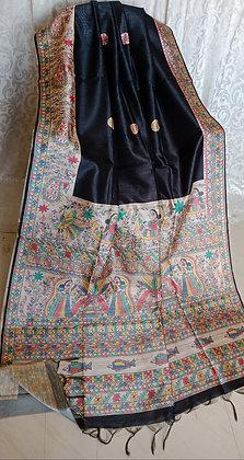 Black Madhubani Sari