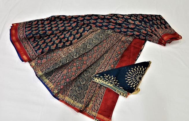 Ajrakh print Blue chanderi handloom saree