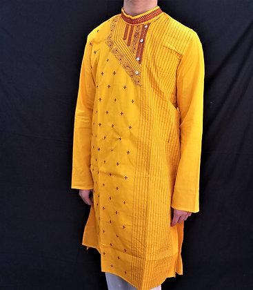 Yellow Cotton Readymade Kurta