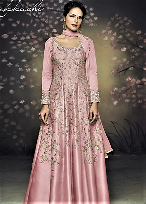 Pink Indo-western Gown w/ Embroidery allover