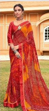 Georgete Sari Red and Orange
