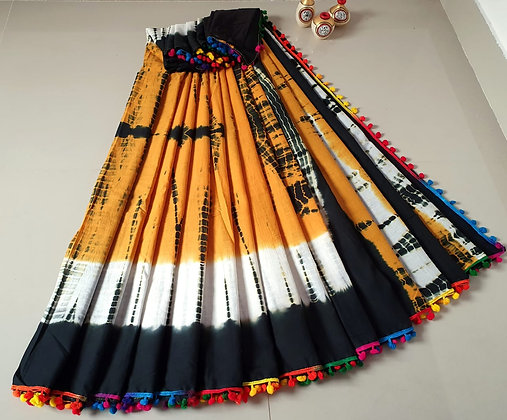 Yellow, White and Black cotton Sari
