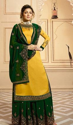 Mango Yellow and Green satin silk 2-Bottom Suit