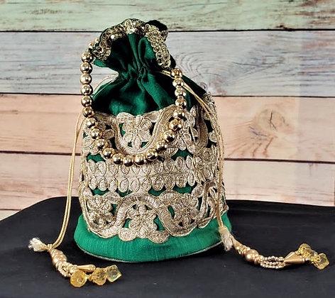 Green Embroidered Potli Bag