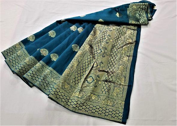 Teal Blue Art Satin Sari