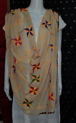Fawn Chiffon Embroider Dupatta