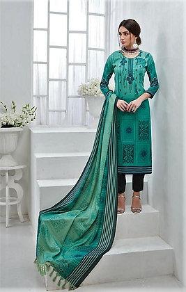 Beautiful Pashmina inspired Green printed Suit