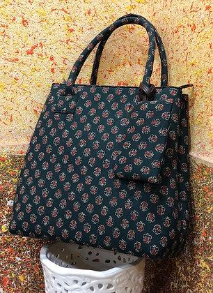 Dark Blue small Print Fabric Tote Shoulder Bag w/Money pouch