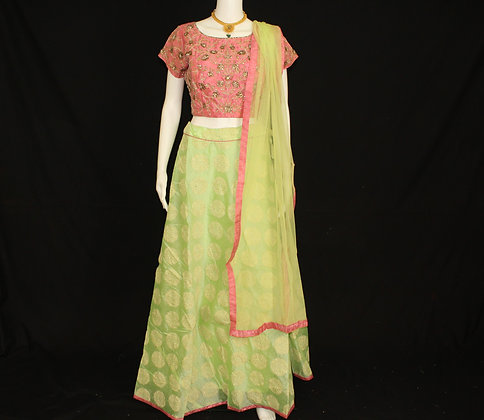 Pink and Green Ready to wear Crop Top